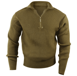 Rothco Mens Quarter Zip Acrylic Commando Sweater - Size S - XL Front View